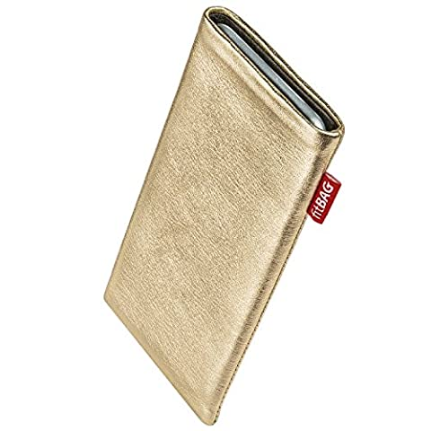 fitBAG Groove Gold custom tailored sleeve for E-Ten Glofiish M700. Fine nappa foil leather pouch with integrated microfibre lining for display cleaning