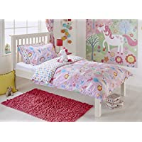 """Riva Paoletti Kids Unicorn Single Duvet Set - 1 x Pillowcase Included - Pink and White - Reversible Design - Machine Washable - 137 x 200cm (54"""" x 79"""" inches) - Designed in the UK"""