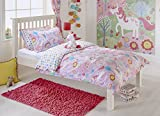 "Kids Unicorn Single Duvet Set - 1 x Pillowcase Included - Pink and White - Reversible Design - Machine Washable - 137 x 200cm (54"" x 79"" inches) - Made by Riva Paoletti - Designed in the UK"