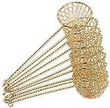10er Pack Fondue-Sieb, Ø 6cm, L 22cm, goldfarben, Sieblöffel für Feuertopf, Mongolentopf