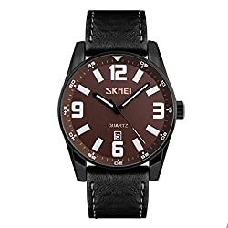 Skmei Elegant Design Analog Sports series Genuine Leather Watch -9137 Black