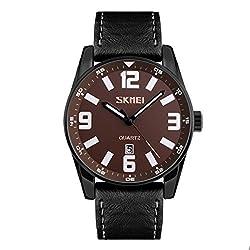 Skmei Elegant Design Analog Sports series Genuine Leather Watch -9137 Black