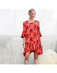 La Sra. ropa de verano vestidos vestido volantes ondulante 7 ,S/EU36 puños-YU&XIN