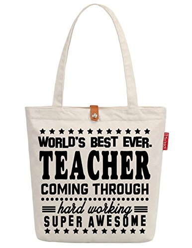 So'each Women's Best Teacher Gift Graphic Top Handle Canvas Tote Shopping Bag