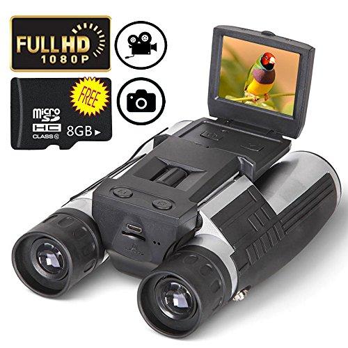 """Jumelles Caméra Binoculaire Telescope Enregistreur Vidéo 2"""" LCD FHD 12x32 5MP 1080P 1000M Visual Field avec 8 GB TF Carte Gratuite Regarder Oiseau Concert Randonnée Chasse"""