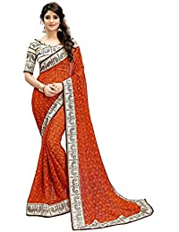 CLOTHAM Women's Chiffon Saree With Blouse Piece (c-vn34_Orange)