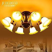 KHSKX Lampada da soffitto,8 americani soggiorno lampadario rustico Mediterraneo orientale-stile