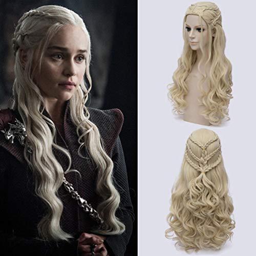 Rubyonly Game of Thrones Daenerys Targaryen Perücke Kunsthaar Lange gewellte Drachen von Mutter Perücken (Flip Perücke Kostüm)