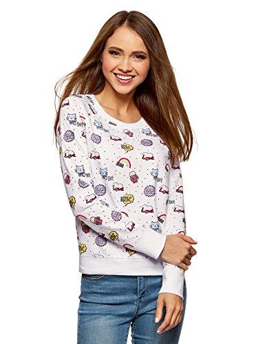 oodji Ultra Damen Bedrucktes Sweatshirt Basic, Weiß, DE 44 / EU 46 / XXL