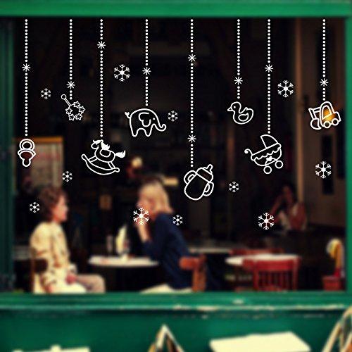 (Fenster Glas Aufkleber Weihnachtsverzierung Tier Anhänger selbstklebende Tapete Fenster Aufkleber Shop Dress Up Wall Sticker 106 * 69 Cm)