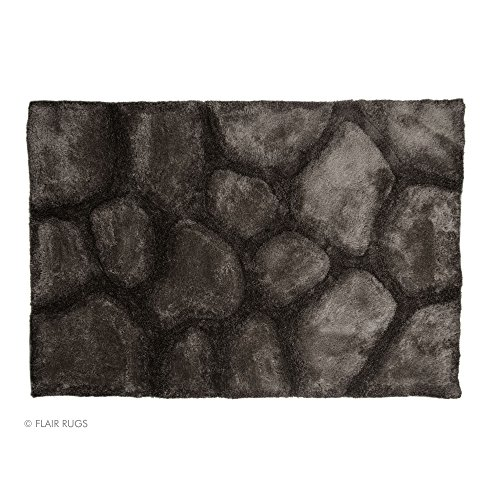 Flair Rugs Verge Brook Shaggy Hand Carved Rug, Black/Silver, 120 x 170 Cm