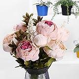 StarLifey Künstliche Blumen, Altmodische Pfingstrosen kunstblumen, aus Seide für Hochzeit Heim-Dekoration, 1 Stück hellrosa - 2