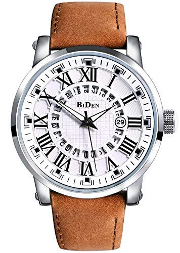 Biden Herren Uhren Analog Quarz Wasserdicht mit Leder Armband Geschäft und Kalender