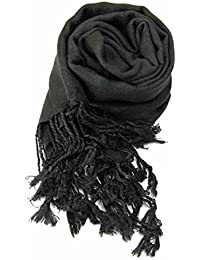 Ladies Soft Plain Viscose Pashmina Scarf Shawl Wrap Stole Black