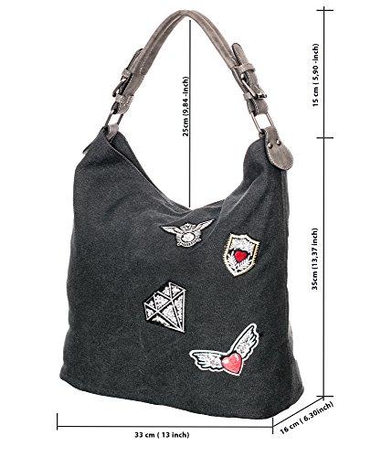 Damen canvas schultertasche canvas umhängetasche Handtasche Canvas Beuteltasche Shopper mit patches Metalic Silber hobo handtasche grau 0408