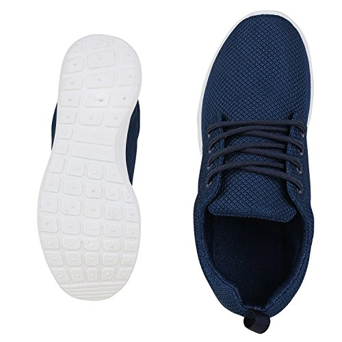 Flache Unisex Damen Herren Laufschuhe Profilsohle Sportschuhe Schnüren Sneakers Freizeitschuhe Blue White