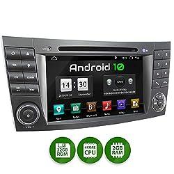 XOMAX XM-08ZA Autoradio passend für Mercedes W211 W219 W463 mit Android 10, 4Core 2GB ROM+32GB RAM, GPS Navi, DVD, CD I Support: WiFi 4G, DAB+, OBD2 I Bluetooth, 7Zoll / 18cm Touchscreen, USB, SD