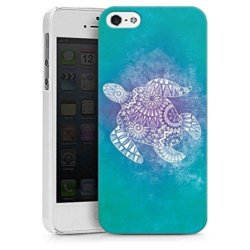 Apple iPhone SE Tasche Hülle Flip Case Mandala Turtle Schildkröte Muster Hard Case weiß