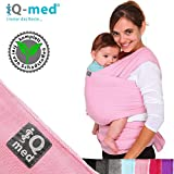 iQ-med Babytragetuch | für Neugeborene, bis 15 kg | BIO | atmungsaktiv | + Anleitung (Rosa)