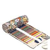 Amoyie Handmade Aufbewahrungstasche Canvas Federmäppchen rollen für 72 Buntstifte und Bleistifte, Mäppchen groß (keine Schreibzeuge im Lieferumfang)