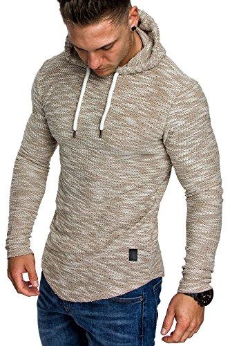 Amaci&Sons Herren Kapuzenpullover Hoodie Sweater Pullover Sweatshirt 4012 Sand M