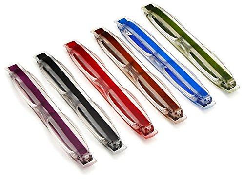 Tukistore 6 satz Folding Pocket Lesebrille 360 Rotierenden Rohr Stift Clip Klapp Lesebrille Ultraleicht für Männer und Frauen