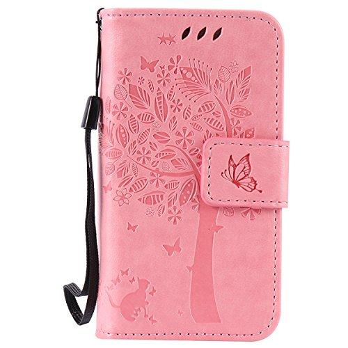 iPhone 4S Hülle,Leder Flip Case für Apple iPhone 4S,Ekakashop iPhone 4 PU Leder Tasche Flip Wallet Case Cover Stand Lederhülle Brieftasche mit Kartensteckplätze,Bookstyle Katzen und Baum Muster Magnet Rose
