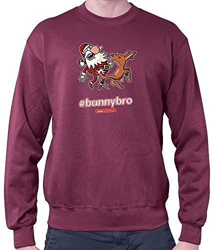 HARIZ Herren Pullover Pixbros Bunnybro Xmas Weihnachten Witzig Lustig Liebe Plus Geschenkkarte Wein Rot XXL
