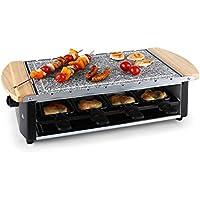 Klarstein 3-in-1 raclette con grande piastra di cottura in granito (1200 Watt, rivestimento antiaderente, maniglie laterali in legno) - pietra