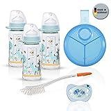 NIP Weithalsglasflasche Glas Flaschen Set // Glas-Babyflasche // 3er Pack 240 ml // mit Weithalstrinksauger anatomisch, Silikon, Gr. 0+, Milch // NIP Milchpulver-Portionierer // NIP Flaschen & Saugerbürste // Leuchtschnuller Gr.1 (0-6 Mo)