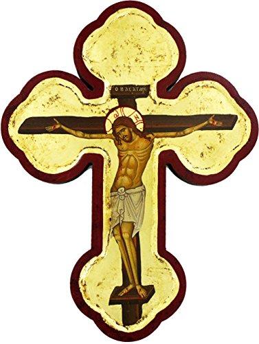 Ferrari & Arrighetti SNC Kreuz Symbol in Holz Hintergrund mit Gold cm 28x 19-Christus Morente