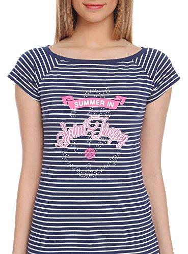 oodji Ultra Damen T-Shirt mit Aufdruck IM Marine-Stil Blau (7941P)
