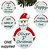 Father Christmas Personalised Tree Decoration, Santa bauble, First 1st Ornament
