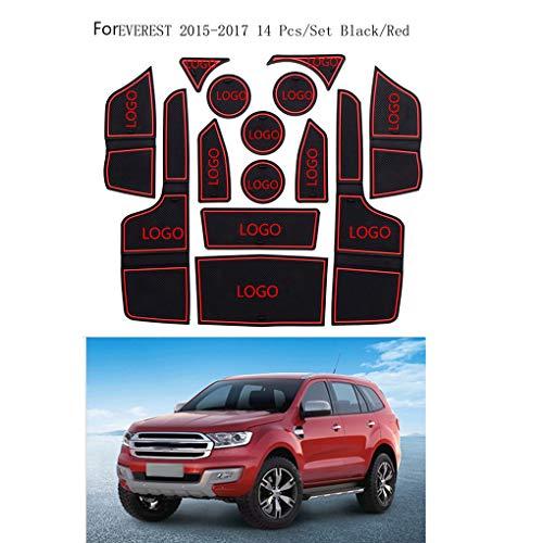 LEVEL GREAT 14pcs Ersatz für Ford Everest 2015-2017 Auto-Tür-Groove Mat Tor Slot Pad Anti-Rutsch-Auto-Dekoration-Geschenk - 14-cup-ersatz