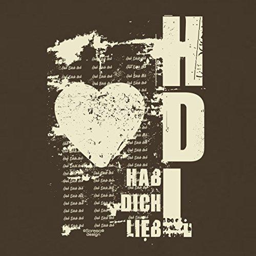 Geschenk zum Valentinstag für Ihn T-Shirt Hab Dich lieb Geschenkidee Geburtstag Übergröße Mode für mollige Herren Farbe: braun Braun