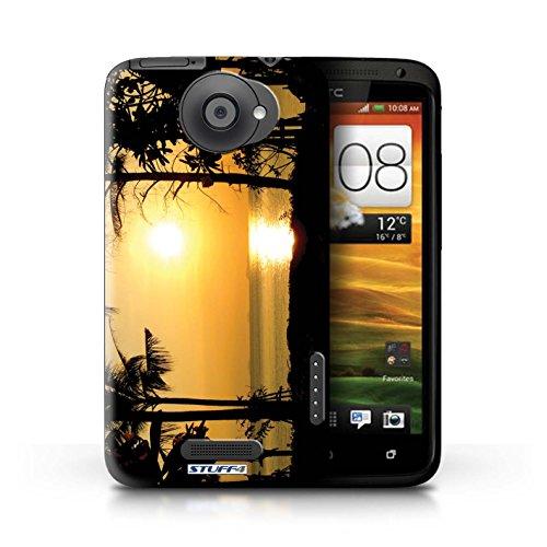 Kobalt® Imprimé Etui / Coque pour HTC One X / Chaîne de montagne conception / Série Coucher du Soleil arbres tropicaux