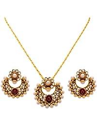 JFL - Traditional Ethnic One Gram Gold Plated Polki Pearls Designer Pendant Set For Women & Girls