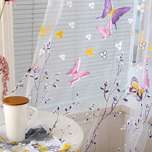 JKAIOD Vorhang 2017 1 stücke Schmetterling Zweig Gedruckt Tüll Vorhänge Wohnzimmer Innenfenster Bildschirm Dekoration 100x200 cm Hotpink