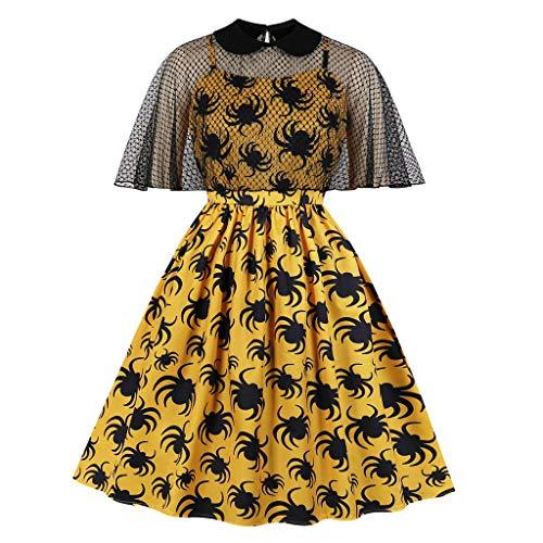 Lazzboy Frauen Hepburn Spider Print Trim Swagger Rock Runden Kragen Retro-Kleid(Gelb,S)