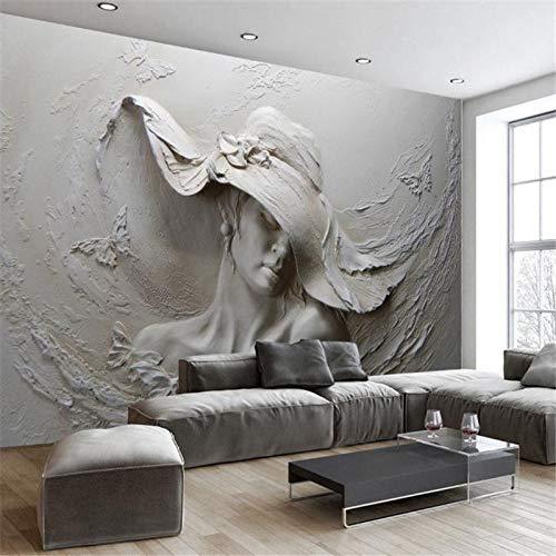 BIZHIGE Benutzerdefinierte Fototapeten Fototapeten Für Wände 3D Stereo Geprägte Charaktere Skulptur Fototapete Wohnzimmer Nachttisch Dekor Mural-200 × 100 cm