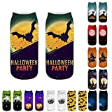 Gereton Casual 3D Printed Socks Halloween Horror Ghost Pumpkin Light 3D Printed Socks Halloween Novelty Gift Socks Fashion 3D Printed Socks