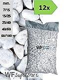 WUEFFE Ciottoli di Marmo Bianco Carrara - 12 Sacchi da 25 kg - Sassi Pietre Giardino (40/60)