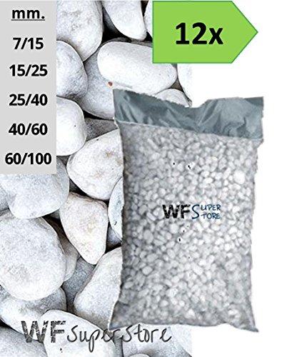 WUEFFE S.R.L. Ciottoli di Marmo Bianco Carrara - 12 Sacchi da 25 kg - Sassi Pietre Giardino (40/60)