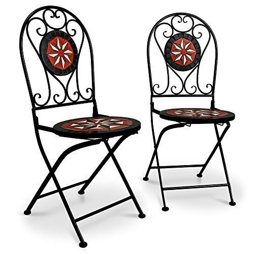 Deuba Mosaikstühle Pamplona 2er Set I Klappbar I Sitzhöhe 45cm I Metall Stabil - Gartenstühle Klappstühle Balkonstühle