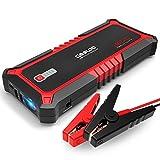 GOOLOO Auto Starthilfe 12V 1500A 19800mAh 73Wh Tragbare Autobatterie Starthilfe Schnellstartsystem Starthilfe Booster mit LED Taschenlampe USB Ladegerät für Smartphone iPhone usw.(Rot)