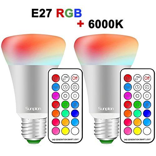 (2 Pack)RGBW 10W E27 Led Colores Cambiantes Lámpara,Sunpion® Bombilla Bulbo LED AC 85-265V, LED Lmpara Bombilla 12 Colores Mando a Distancia Led RGB Light Bulb (2 Pcs)