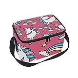Borsa termica per il pranzo a forma di unicorno con arcobaleno cartoni animati con cinghia per la scuola ufficio picnic borsa frigo uomo donna adulto ragazza ragazzo