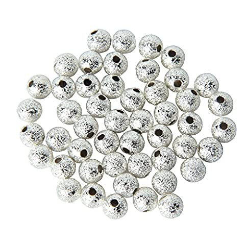 niceeshop(TM) 1 Bag(50Pcs) 4mm Silver Plated Stardust Sparkle Round Pandora Charm Beads Spacer Beads For Jewelry