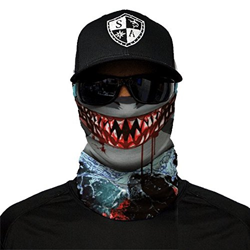 SA Fishing Company Face Shield Sturmhaube *viele verschiedene Designs* Multiunktionstuch Maske Fishing Totenkopf Schal Skull Bandana Gesichtsmaske Halstuch Ski Motorrad Paintball Halloween Maske (Sharp Edge)