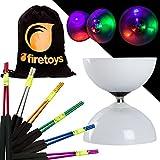 Juggle Dream - Diabolo con Grande Cuscinetto a LED, con Bacchette Colorate in Alluminio e Sacca in Cotone Selezionare Il Colore del Bastoncino! Batterie Incluse, Purple Sticks